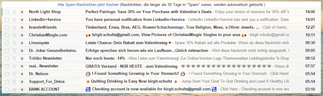 Spam-Mails im Posteingang