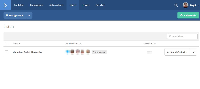 Nur eine Liste in ActiveCampaign