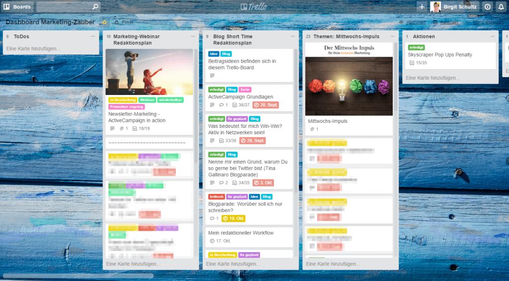 Screenshot Kurzzeit-Redaktionsplan