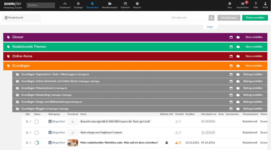 Redaktioneller Workflow: Themensammlung in Scompler