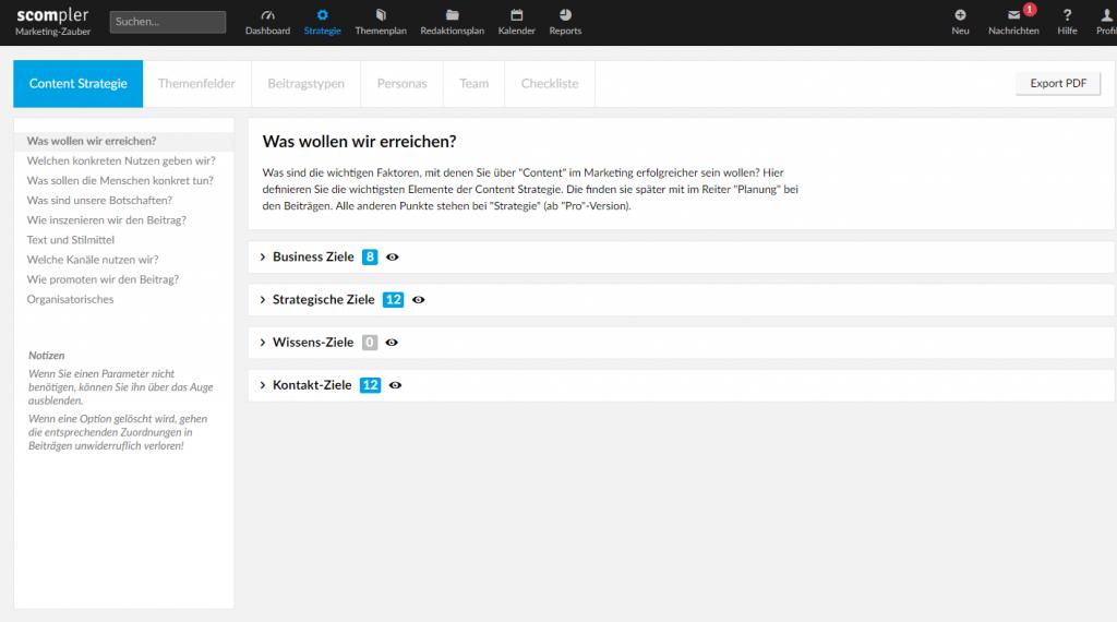 Redaktioneller Workflow: Screenshot Scompler Content-Marketing-Strategie