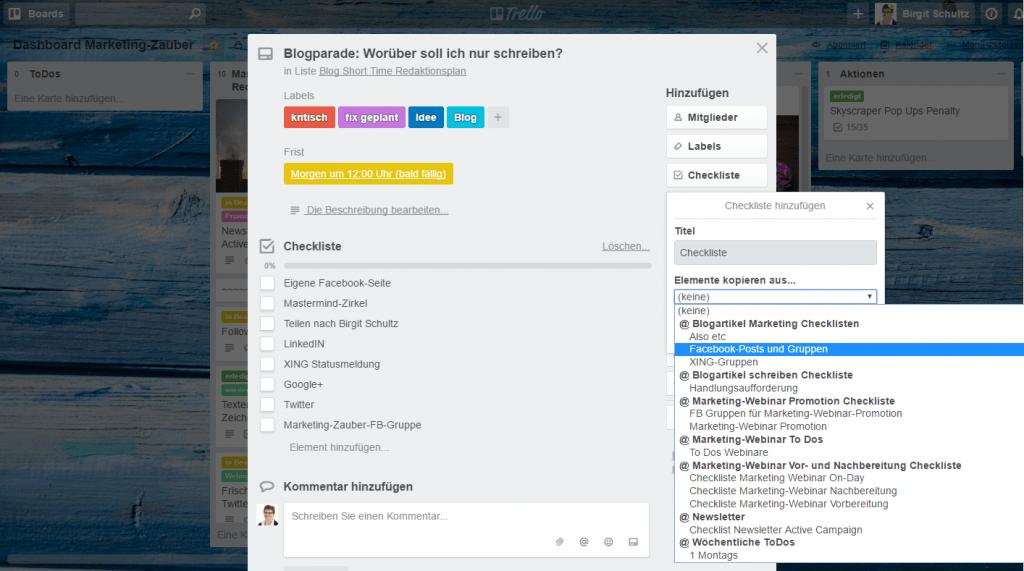 Redaktioneller Workflow: Einfügen von Checklisten-Vorlagen im Trello Kurzzeit-Redaktionsplan