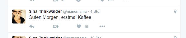 """Screenshot Twitter """"Erst mal Kaffee!"""""""
