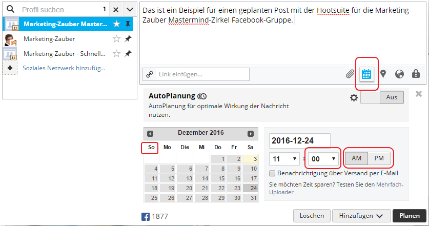 Hootsuite Screenshot Post Planung