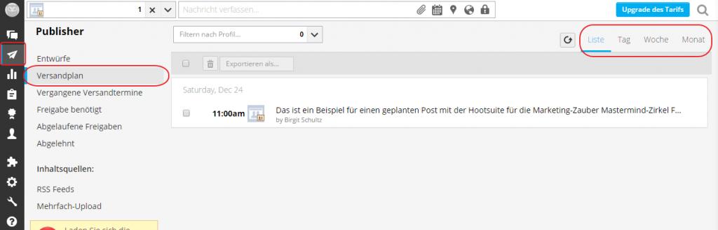 Hootsuite Screenshot Versandplan