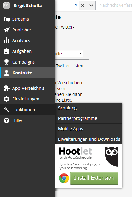 Hootsuite Screenshot Schulungen und Apps