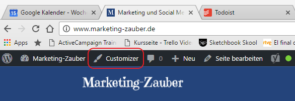 Link zum Customizer