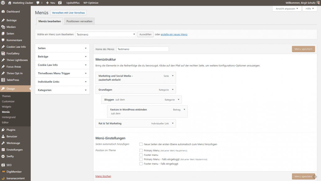 Navigation in WordPress einrichten