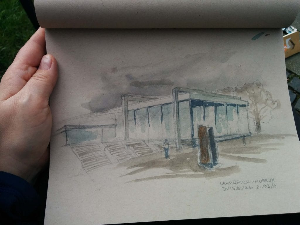 Skizze vom Lehmbruck-Museum in Duisburg
