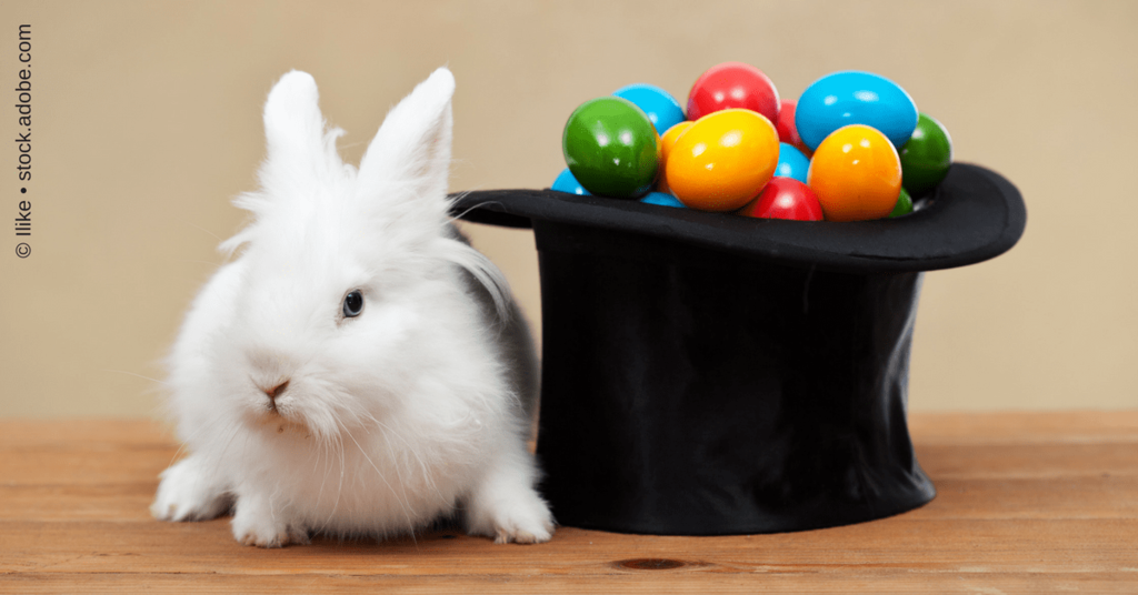 Osterhase mit Zylindern und bunten Eiern als Beitragsbild zur Blogroll Ostern 2017