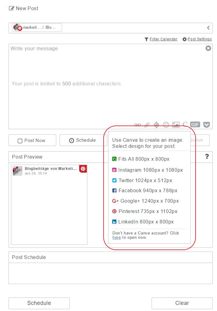 eClincher und Canva - Screenshot