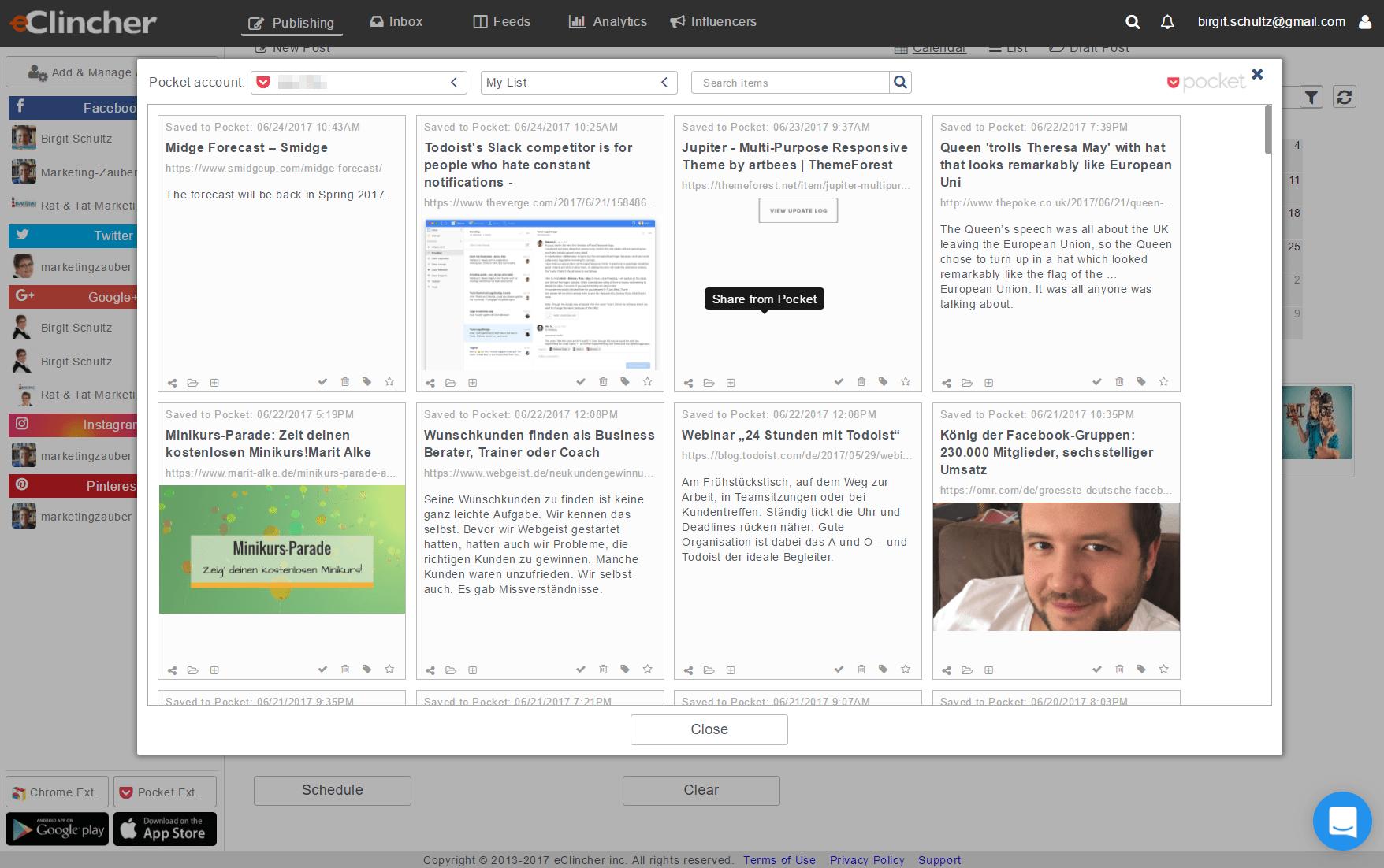 eClincher und Pocket-Integration - Screenshot
