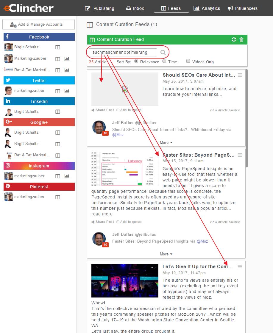 eClincher Content Curation Funktion - Screenshot