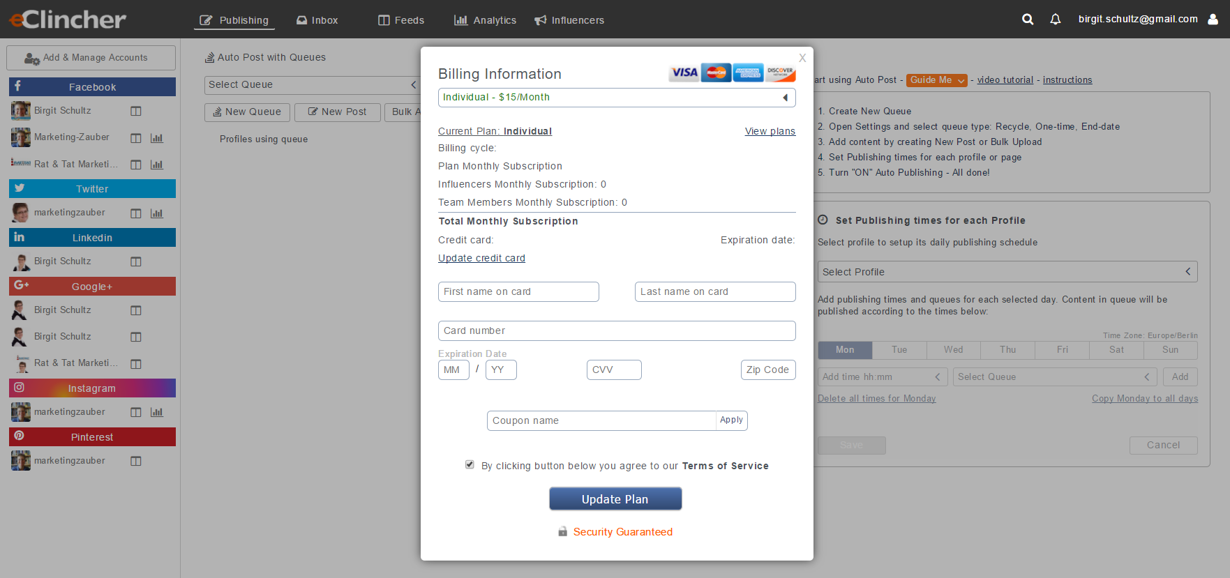 eClincher Autopost with Queues Funktion - Screenshot