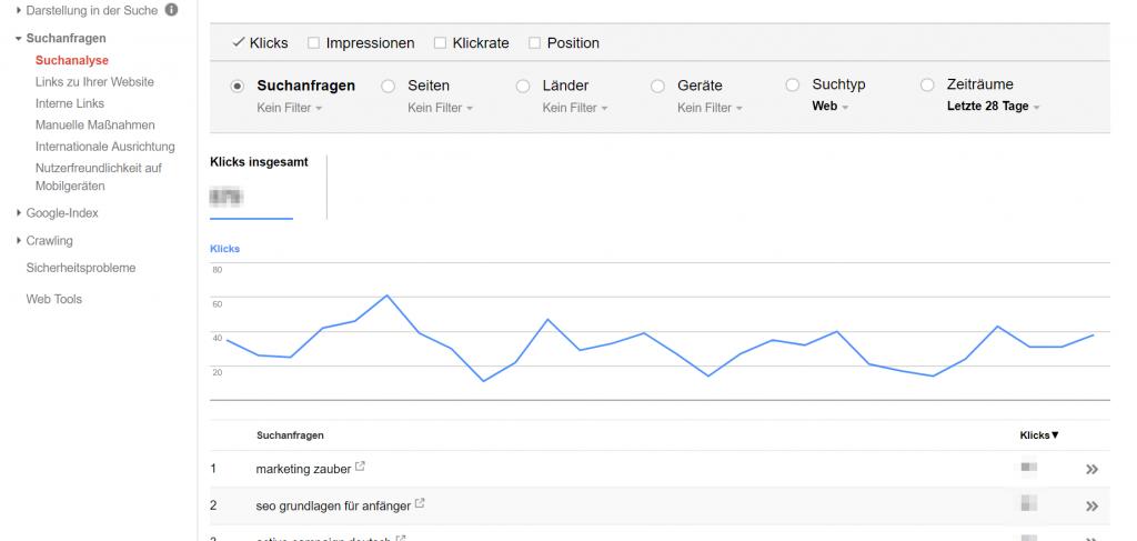Ideen für Blogbeiträge finden mit der Google Search Console Screenshot