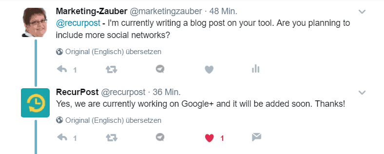 Screenshot Recurpost Tweet - Integration Google+