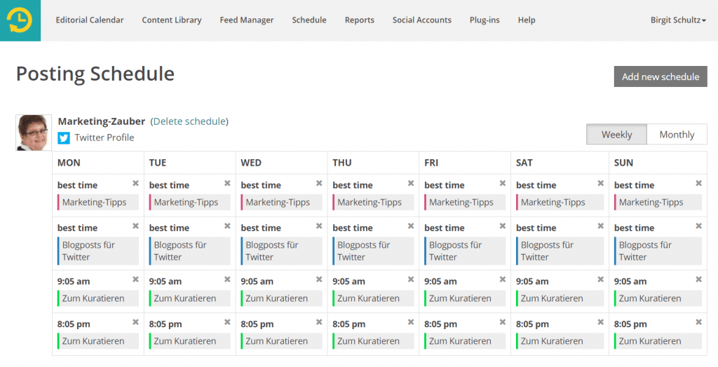 Screenshot Recurpost Posting Schedule