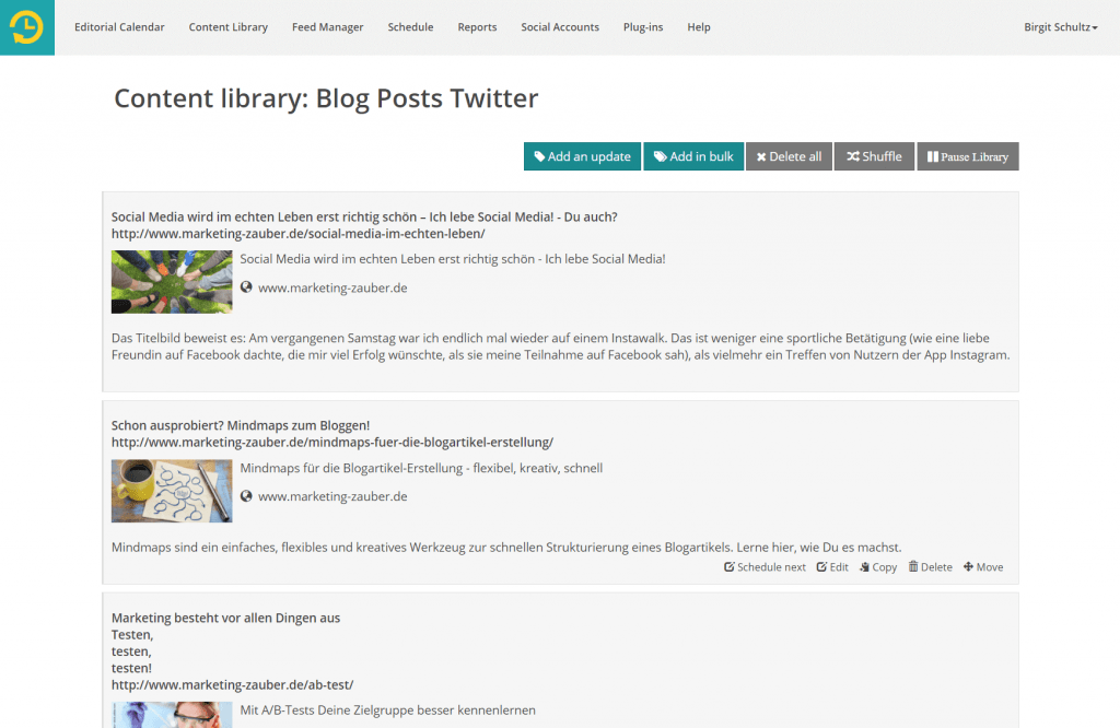 Eine Content Library in Recurpost - Screenshot