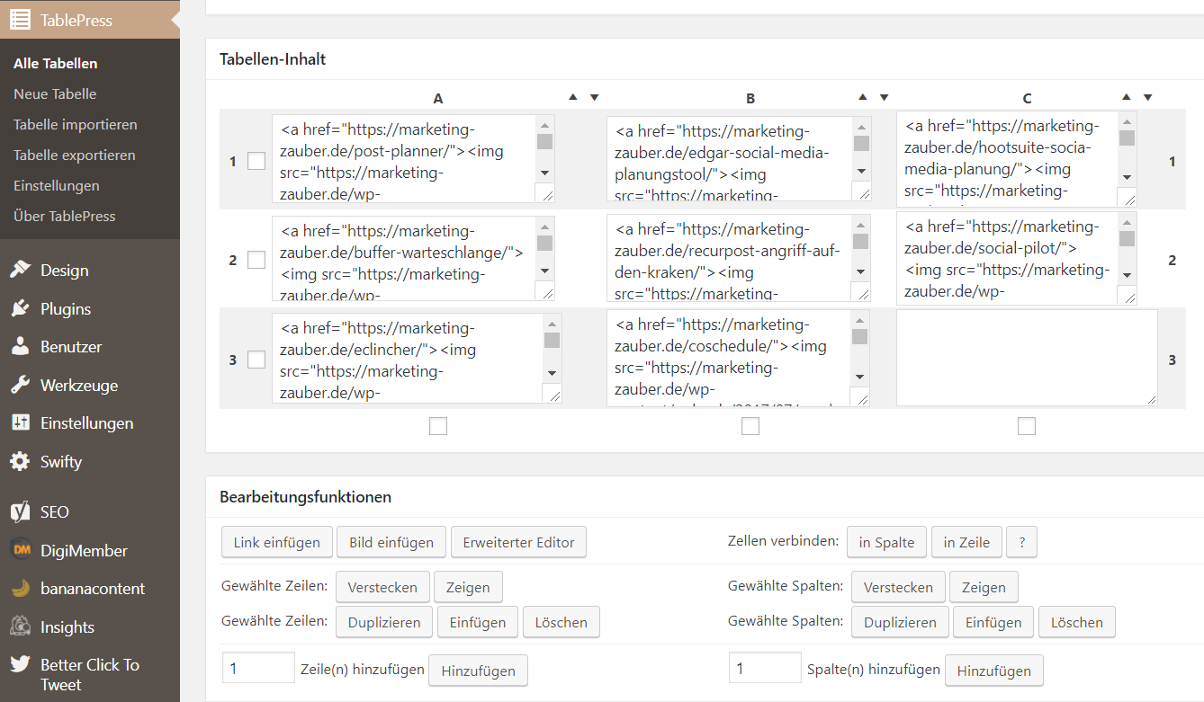 WordPress Plugin TablePress Screenshot