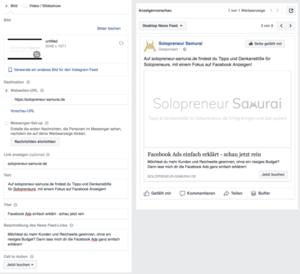 Facebook Ad Bestandteile