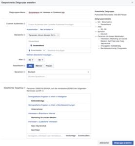 Facebook Anzeigen - Gespeicherte Zielgruppe erstellen