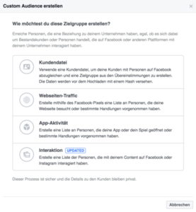 Facebook Custom Audiences erstellen