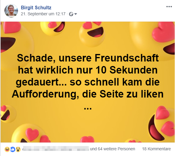 Screenshot No Go auf Facebook
