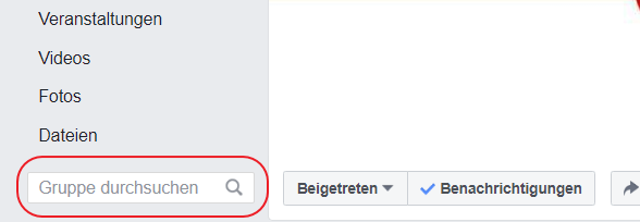 Suchfunktion in Facebook-Gruppen