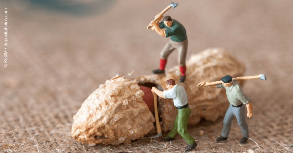 Rabatte in Deinem Online Marketing Mix - Holzfäller schlagen eine Erdnuss auf