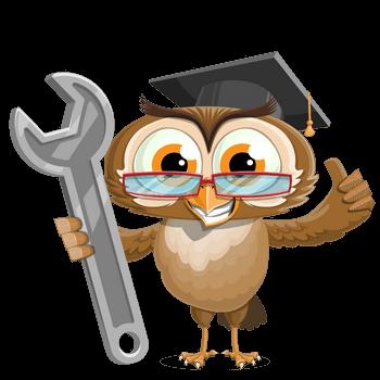 Marketing-Zauber Eule Olly mit Schraubenschlüssel