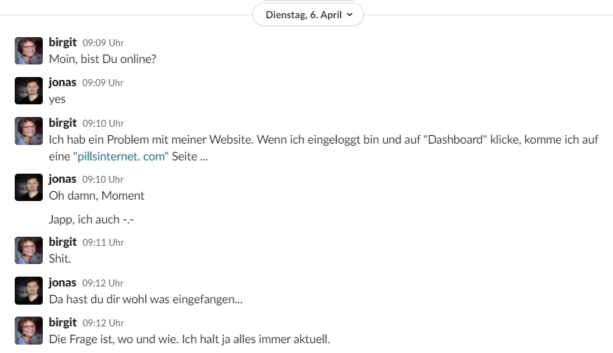 Screenshot der Slack-Konversation mit Jonas Tietgen zum Hacking meiner Website